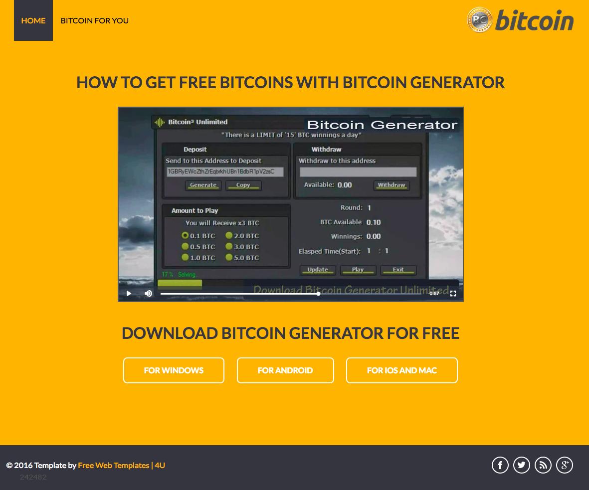 Bu site sol alt köşede görebileceğiniz gibi ücretsiz bir şablon ile hazırlanmış. Videoda kolay yoldan Bitcoin üretme yalanları izleyiciye sunuluyor.